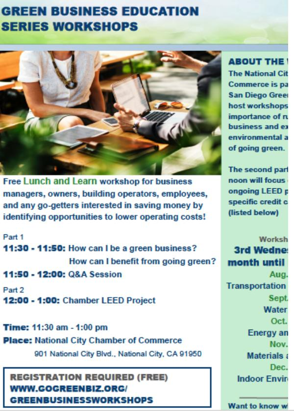 National City Chamber of Commerce: Green Business Education Series, No