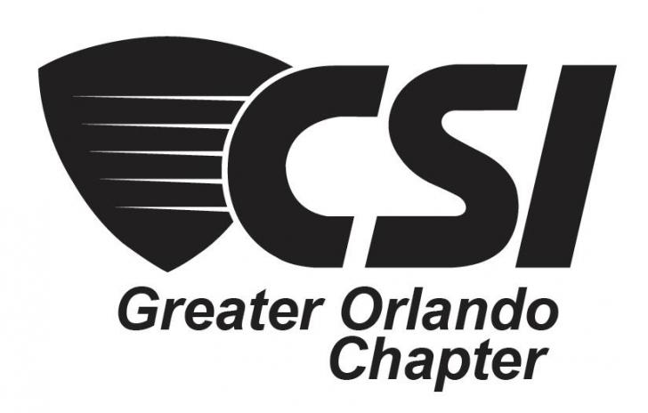 Greater Orlando Chapter, Construction Specifications Institute Event June 16th 6-10pm