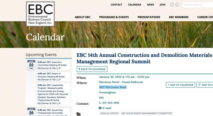 EBC 14th Annual Construction and Demolition Materials Management Regional Summit,