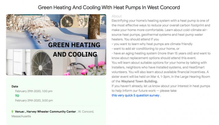 Green Heating And Cooling With Heat Pumps In West Concord, February 29, MA